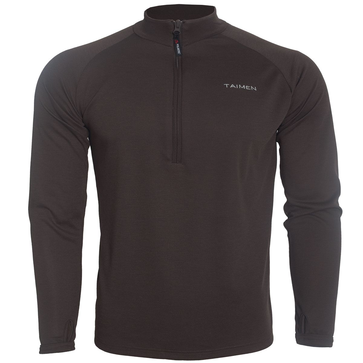 Taimen Polartec Power Dry Heavy Weight Zip Top - Turkish Coffee